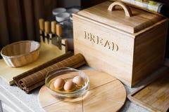 Pan en la cocina con el huevo Imagen de archivo libre de regalías