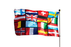 Pan European flag against on white background Stock Photos