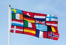 Pan-europeisk flagga mot den blåa himlen Royaltyfri Foto