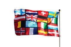 Pan-europeisk flagga mot på vit bakgrund Arkivfoton
