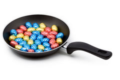 A pan filled with chocolate easter eggs Stock Image