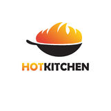 Pan with fire. Wok illustration. Black Asian Wok Pan with Fire. Wok logotype illustration. Restaurant, shop or asian fast food cafe logo sign Stock Photography