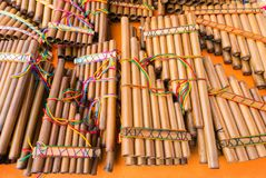 Pan-Flöten von Ecuador Stockfotografie
