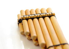 Pan flute close-up isolated Stock Image