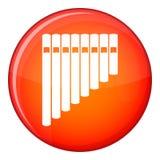 Pan flute icon, flat style Royalty Free Stock Photo