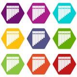 Pan flute icon set color hexahedron Stock Photo