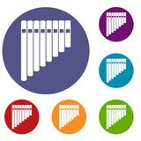 Pan flute icons set Royalty Free Stock Photo