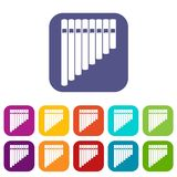 Pan flute icons set Stock Image