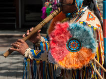 Pan Flute Musician sudamericano Fotografia Stock Libera da Diritti