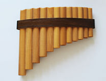Pan flute. Photo of pan flute, traditional musical instrument Stock Images