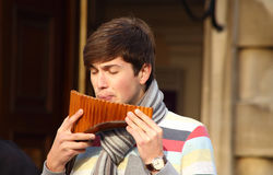 Pan flute player Stock Image