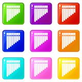 Pan flute set 9 Royalty Free Stock Photography