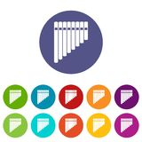 Pan flute set icons Royalty Free Stock Image