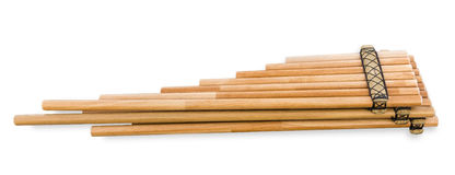 Pan flute (zampona, siku) close-up on white background Stock Photos
