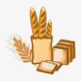 Pan francés delicioso y pan tajado libre illustration