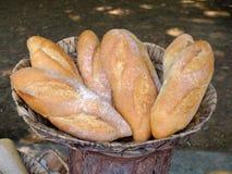 Pan francés fresco en una cesta Fotos de archivo libres de regalías
