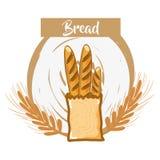 Pan francés fresco y delicioso del trigo ilustración del vector