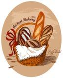 Pan fresco en la cesta stock de ilustración