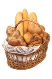Pan fresco en la cesta aislada completamente fotografía de archivo