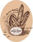 Pan fresco en la cesta con la etiqueta Imagenes de archivo
