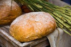 Pan fresco y trigo en el de madera Fotografía de archivo
