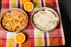 Pan of fresh baked iced sweet rolls Royalty Free Stock Image