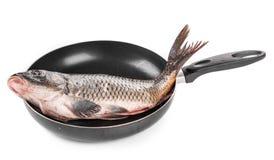 Pan with fresh carp Stock Photography