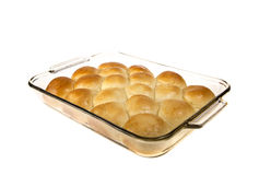 Pan of Fresh Dinner Rolls Isolated on White Royalty Free Stock Photos