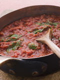 Pan of Fresh Tomato Sauce Royalty Free Stock Photography
