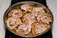 Pan of freshly baked and iced cinnamon rolls Royalty Free Stock Photos