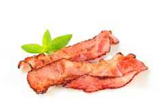 Pan fried bacon strips Stock Image