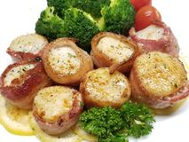 Bacon Wrapped Scallops with Broccoli royalty free stock photos