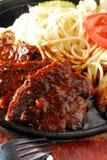 Pan fried Beaf steaks Stock Photos