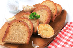 Pan fried bread and garlic Stock Image