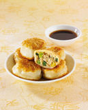 A Pan-fried browned pork pie Royalty Free Stock Images