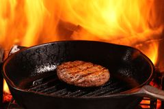 Pan Fried Burger Royalty Free Stock Photography