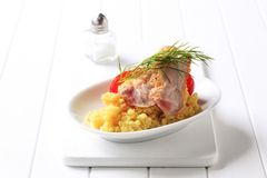 Pan fried chicken with couscous Royalty Free Stock Image