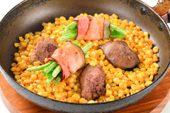 Pan fried chicken liver with sweetcorn bacon Royalty Free Stock Photos