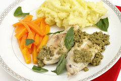Pan fried chicken and pesto Royalty Free Stock Image