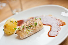 Pan fried cod. With some thyme on the top Royalty Free Stock Images