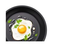 Pan with fried egg. Cooking food. Stock Photos