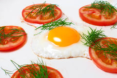 Pan with fried egg and tomatoes Royalty Free Stock Image