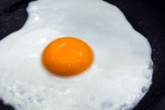 Pan Fried Egg with Yolk Sunny Side Up in a Pan. stock photos