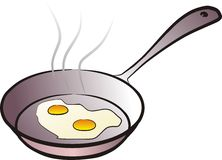 Pan and fried eggs Royalty Free Stock Images