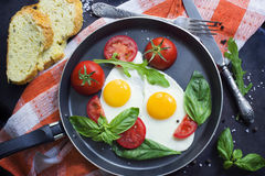 Pan of fried eggs, basil and tomatoes with bread on grunge metallic table surface. Stock Images