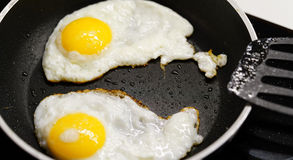 Pan with fried eggs Stock Images