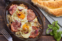 Pan of fried eggs with onion, ham and chard Royalty Free Stock Photography