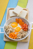 Pan fried eggs and sandwiches Royalty Free Stock Image