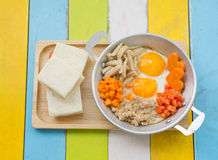 Pan fried eggs and sandwiches Royalty Free Stock Photos