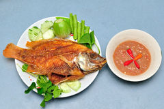 Pan fried fish Stock Photography